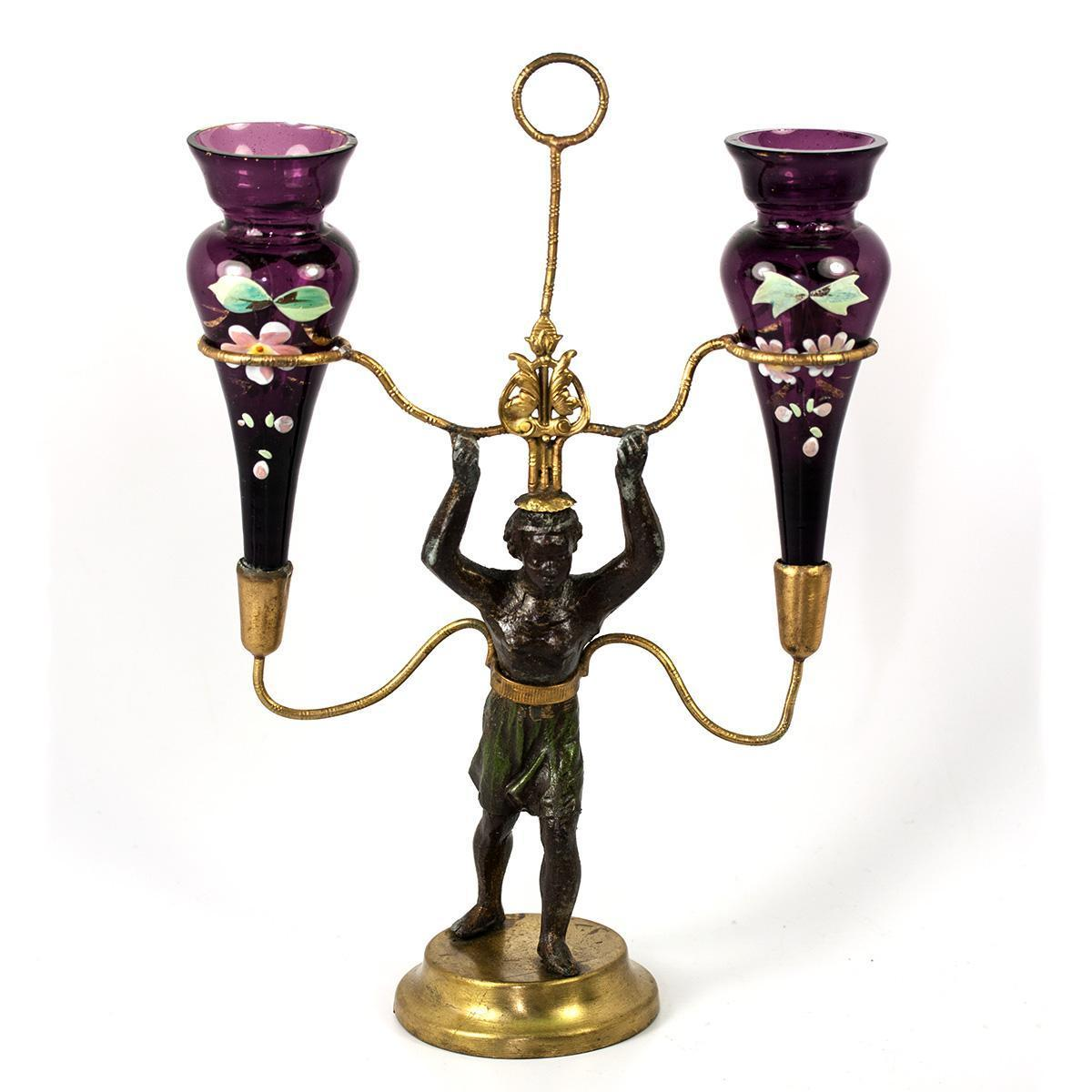 Antique French Blackamoor is an Epergne Stand, Enameled Amethyst Glass Vase