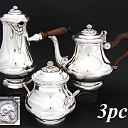 RARE 3pc Antique French Sterling Silver Tea or Coffee Pot Set, Chocolate & Sugar, Rosewood Handles