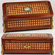 RARE Antique French Chocolatier's Confectioner's Box, Casket, HP Bouquet Cartouche
