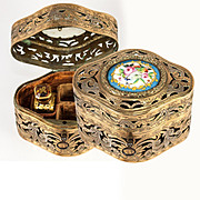 Antique French Perfume Caddy, Cutaway Box with Sevres Porcelain Plaque, one Perfume Flask