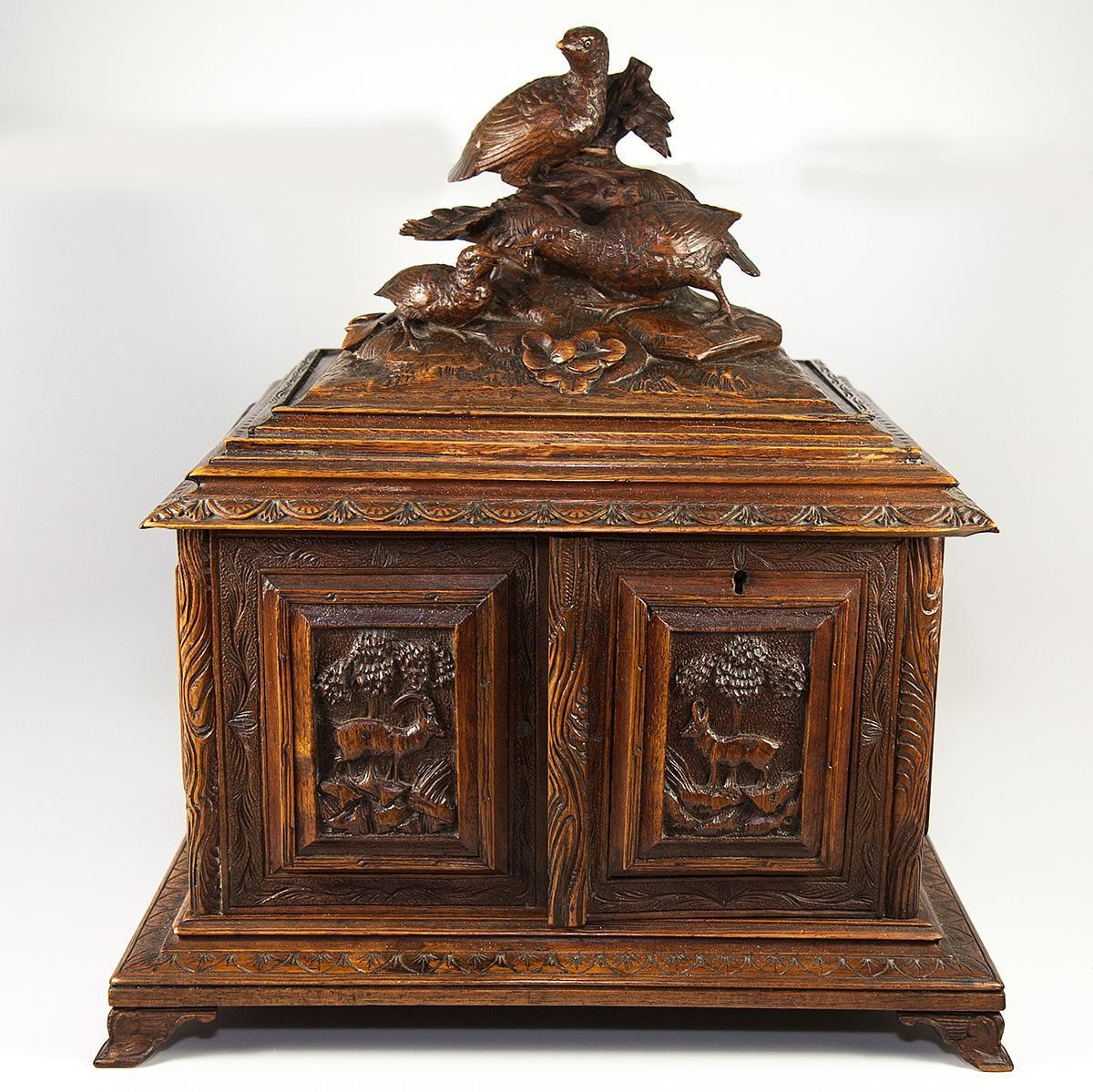Superb Antique Black Forest Cigar Chest, Not Humidor, Presenter with Carved Game Birds, Hunt Plaques
