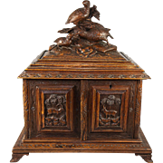 SALE Superb Antique Black Forest Cigar Chest, Not Humidor, Presenter with Carved Game Birds, ...