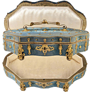 "Antique French Chocolatier's Confectioner's Box, Casket, 12"" x 7.25"" Victorian Era, Ormolu"