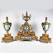 Antique French Mantel Clock, Garnitures Pair (3 pc), Sevres Plaques, Japy Freres Movement