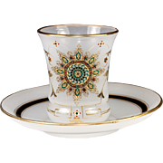 Elegant Antique French Opaline Glass & Jeweled Enamel Wine Cup, Saucer