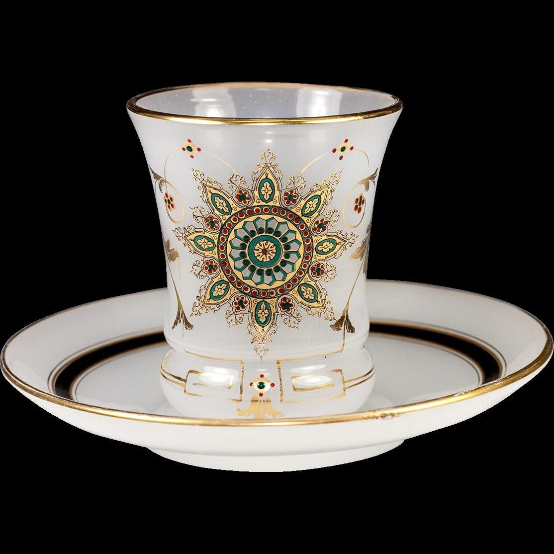 Elegant Antique French Opaline Glass Amp Jeweled Enamel Wine