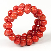 Antique Victorian to Edwardian Era Red Coral & Coiled Wire Ring, Adjustable, Perhaps Doll Bracelet