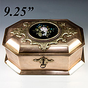 "RARE Antique Heavy Italian Jewelry Box, 9.25"" Casket, Pietra Dura Plaque, c.1840-60, Lock and Key"