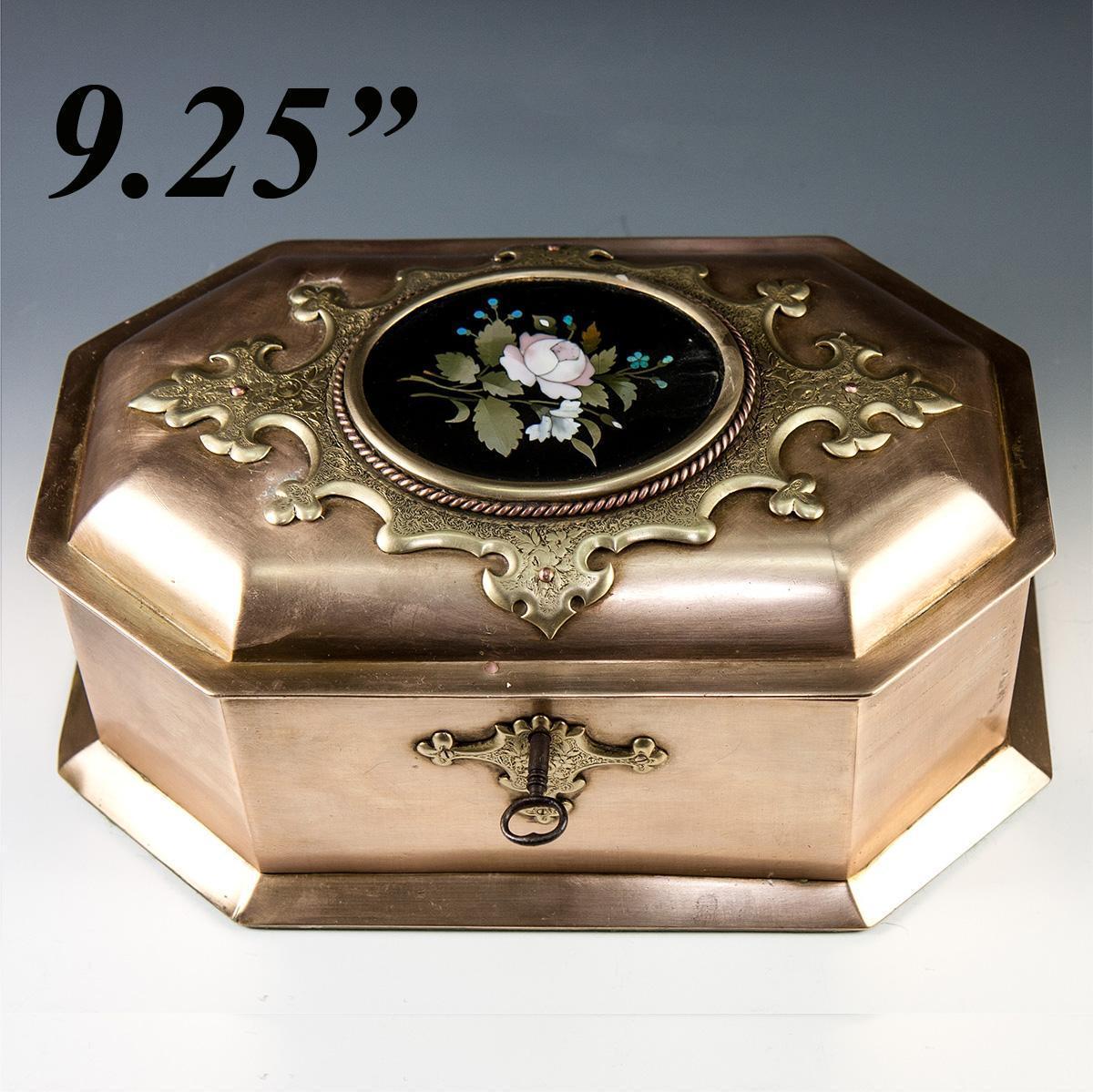 Rare antique heavy italian jewelry box casket for Jewelry box with key