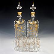 Superb Antique French St. Louis Crystal Aperitif Liqueur Service, Raised Gold Enamel, 16pc 2 Carafe, 12 Cordials