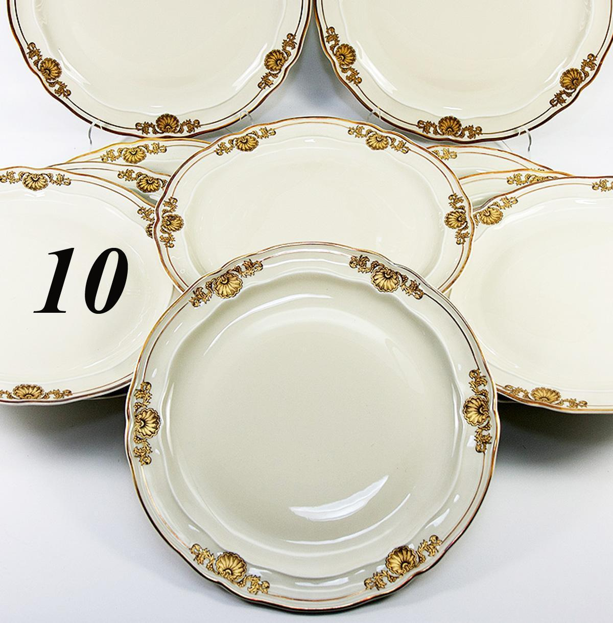 "Set: 10 Antique to Vintage French Dinner Plates, Famed Maker: Bernardaud & Cie, Limoges, ""Ventadour"""