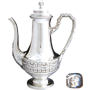 "Elegant Antique French 10"" Sterling Silver Coffee or Tea Pot, Classical or Empire Styling"