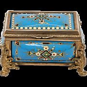 Antique French TAHAN Kiln-Fired Enamel Blue Jeweled Jewelry Box, Rectangular Casket