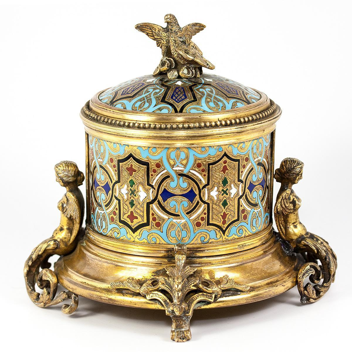 Antique French or Russian Champleve Enamel Box, Jewelry Casket, Figural - Superb!