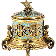 Antique French or Russian Champleve Enamel Box, Casket, Cigar? Server - Superb!