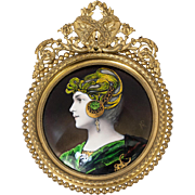 Stunning Antique French Limoges Kiln-fired Enamel Portrait Plaque, Dore Bronze Frame