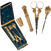Antique French 18k Gold Sewing Tools, Original Etui, Case, Scissors, Thimble, Stiletto, Needle Case,