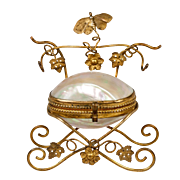 "Antique French Mother of Pearl ""egg"" Jewelry Box, Casket, Ormolu Leaves & Butterfly"