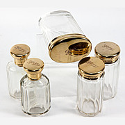 Fine 5-Pc Set of Antique English Sterling Silver Vermeil Vanity Jars, Vermeil