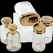Fine 5-Pc Set of Antique English Sterling Silver Vermeil Vanity Jars, Vermeil