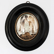 Superb Antique French Hair Art Mourning Icon in Frame, Tomb, Dated 15 Mars, 1830