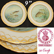 "Gorgeous PAIR of Antique MINTON 9"" Cabinet or Fish Plates, Hand Painted & Signed, Raised Gold Enamel"