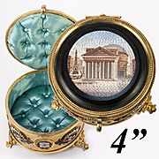 "Antique 4"" Micro Mosaic Grand Tour Souvenir Jewelry Box, Enamel Casket: The Pantheon, Micromosaic"