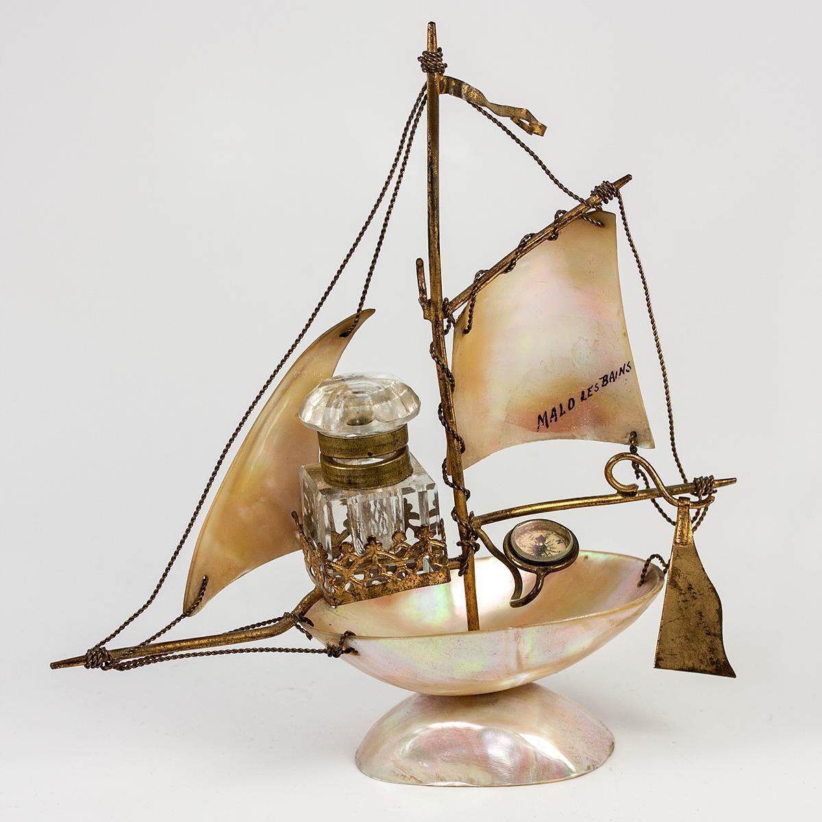 Antique French Mother of Pearl Shell Sail Boat is a Desk Stand, Inkwell, Compass & Pocket Watch Holder