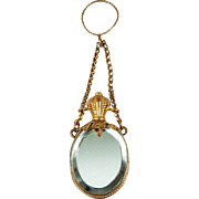 Antique French Ring Chatelaine Scent or Perfume Flask, Bottle, Mirrors, c.1850