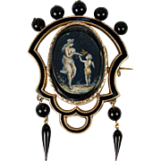 Antique Victorian Mourning Brooch, 14k - 15K gold, Enamel and Jet and Miniature Painting Locket