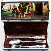 RARE Antique Russian Enamel Painted & Cut Steel Gems Box, Etui, Sterling Silver Flatware Set