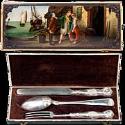 RARE Antique Russian Enamel Painted & Cut Steel Gems Box, Etui, Sterling Silver Flatware Set