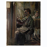 """Fine Antique Impressionist Oil Painting, Interior with Artists, 18"""" x 14"""", w/o Frame"""