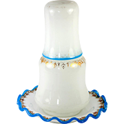 Antique French Opaline Glass Bonne Nuit, Night Time Water Decanter, Saucer & Cup, Timbale