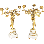 "Antique Pair 14.5"" Tall French Candelabra, 3 Candle Holders (each) Putti and Floral, Alabaster Base"