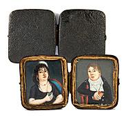 Antique 1700s French HP Portrait Miniature Pair, Couple in Original Shagreen Case, Etui