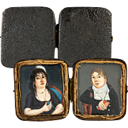 Antique 1700s French HP Portrait Miniature Pair, Couple in Original Shagreen Case, Etui