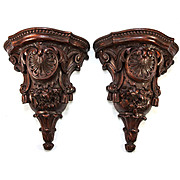 """Fine Large 12.5"""" Tall Pair (2) Antique Hand Carved Wall Shelves, Shelf Set, French c.1840-80."""