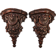 "Fine Large 12.5"" Tall Pair (2) Antique Hand Carved Wall Shelves, Shelf Set, French c.1840-80."