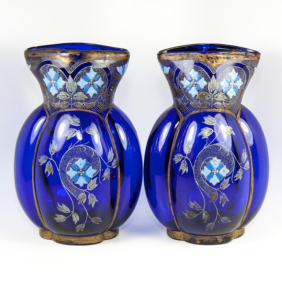 Bohemian Pair of Antique Hand Enameled Czech Art Glass Vases, Quatrefoil
