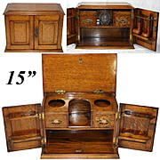 """Antique Victorian to Edwardian Era Oak 15"""" Smoker's Cabinet, Chest, Holds Pipes and More!"""