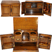"Antique Victorian to Edwardian Era Oak 15"" Smoker's Cabinet, Chest, Holds Pipes and More!"