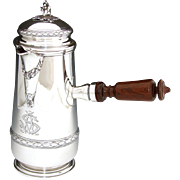 """Antique French Sterling Silver Chocolate Pot, Side Handle, Beautiful """"AS"""" Monogram: 720 gr., Holds 32 oz."""