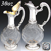 Elegant Antique French Sterling Silver & Cut Glass 30oz Claret Jug, Rococo Styling & Thick Spiral Cut Glass Body
