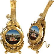 RARE Antique Grand Tour Souvenir Eglomise Pocket Watch Display Stand, a Mandolin: Rome's St. Peter's Square Scene