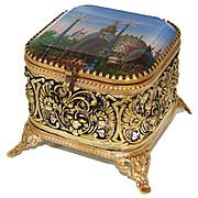 Antique French Eglomise Grand Tour Souvenir Jewelry Box, Casket: 'Porte Monumentale' 1900 Paris Expo