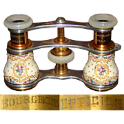 "Superb Antique French Kiln-fired Enamel Opera Glasses, Mother of Pearl, ""Bourgeois Opticien, Paris"""
