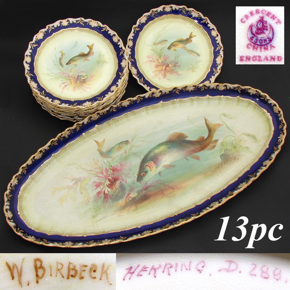 """Superb Antique George Jones & Sons 10pc Fish Plate Set, Matching 24.5"""" Tray or Platter, all Hand Painted & Signed"""