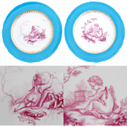 "Antique MINTON 1868 Marked Decorative 9 1/4"" Cabinet Plate PAIR, Blue & Gold with Cupid Figural Centers"