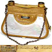 RARE Antique French 'F. Duvelleroy' Folding Opera Glasses, Hand Bag Shape, Embossed Leather & Pearl